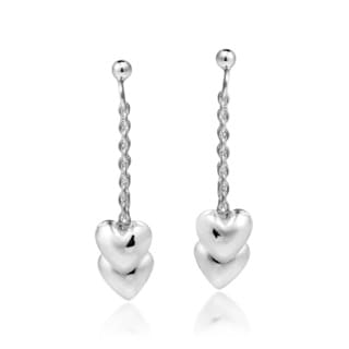 Two Hearts as One Sterling Silver Post Dangle Drop Earrings (Thailand)