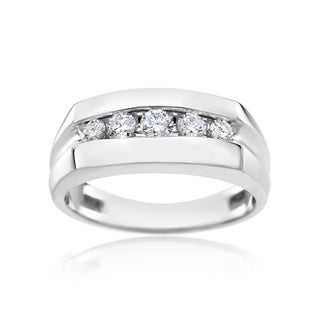 Unique Diamond Wedding Band, Women or Mens Ring 1/2ct TDW 14k White Gold by SummerRose