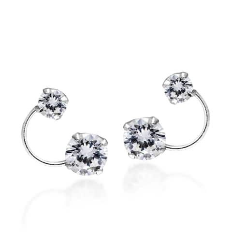 013b01e1c Handmade Bright Silver Orbit Cubic Zirconia Sterling Silver .925 Stud  Earrings (Thailand)