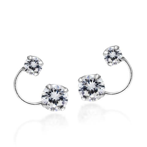Handmade Bright Silver Orbit Cubic Zirconia Sterling Silver .925 Stud Earrings (Thailand)