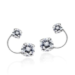 Bright Silver Orbit Cubic Zirconia Crawler Sterling Silver .925 Stud Earrings (Thailand)