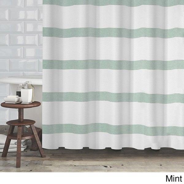 Hotel Quality Waffle Weave Stripe Fabric Shower Curtain (70\