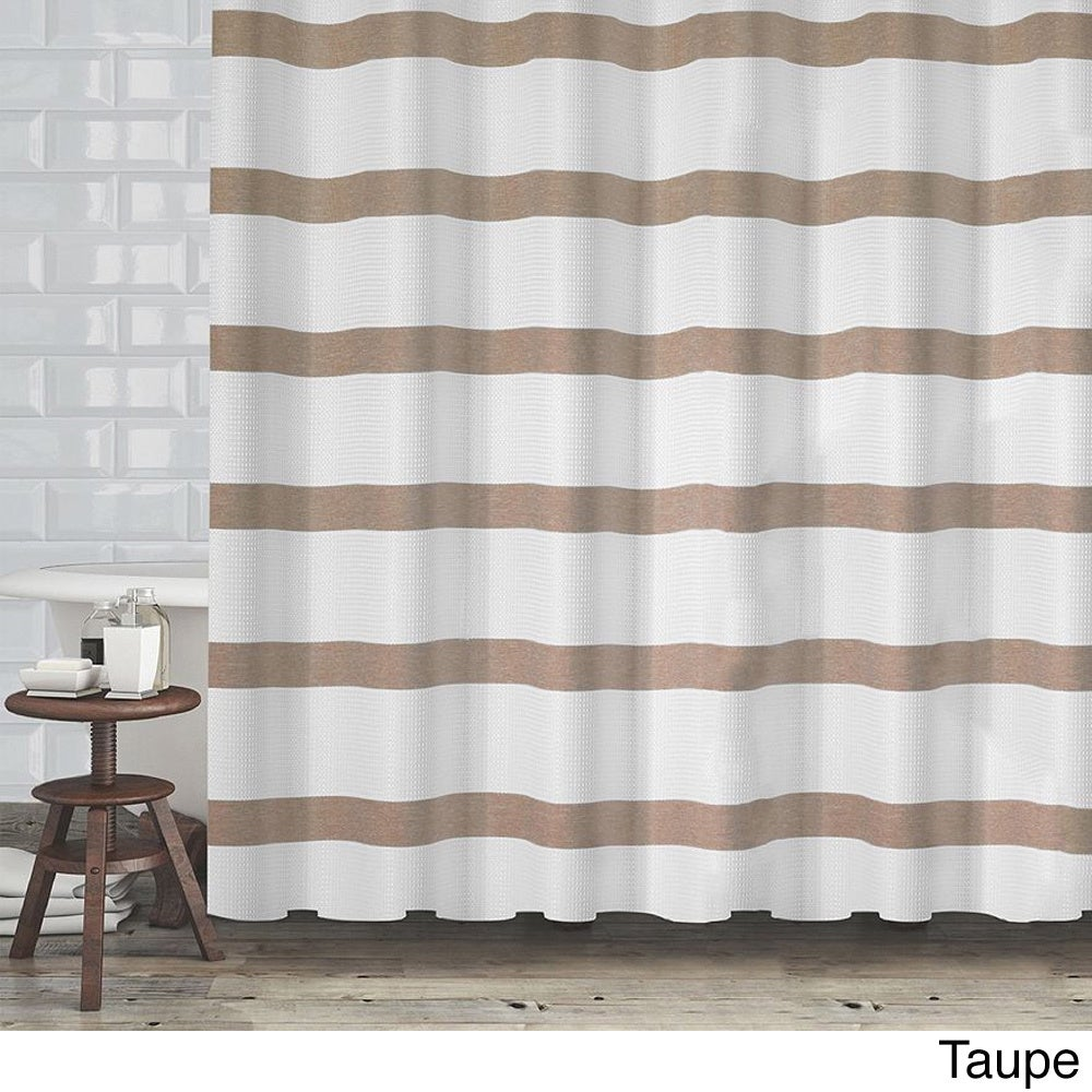 Hotel Quality Waffle Weave Stripe Fabric Shower Curtain (70