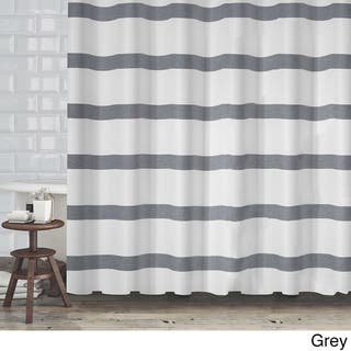 Hotel Quality Waffle Weave Stripe Fabric Shower Curtain 70x72