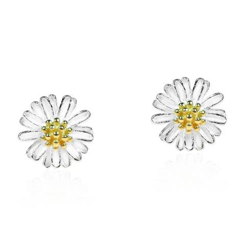 Handmade Mini Daisy 14k Gold Vermeil and 925 Silver Post Earrings (Thailand)