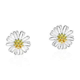 Handmade Mini Daisy Gold Vermeil And 925 Silver Post Earrings (Thailand)