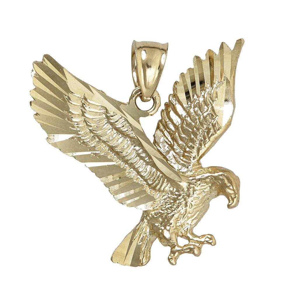 14k Yellow Gold 25.04-millimeter x 27.18-millimeter Eagle...