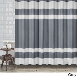 Hotel Quality Fabric Shower Curtain With White Diamond Weave Textured Stripes 70x72