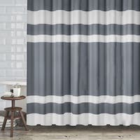 "Hotel Quality Fabric Shower Curtain With White Diamond Weave Textured Stripes (70""x72"") - Assorted Colors"