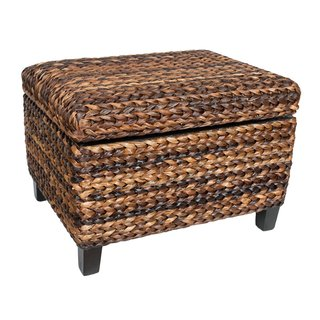BirdRock Home Espresso/Honey Seagrass Rattan Woven Storage Ottoman