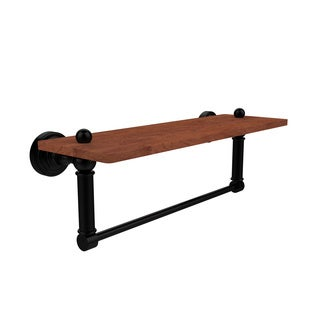 Allied Brass Waverly Place Collection Solid Ipe Ironwood 16-inch Shelf with Integrated Towel Bar