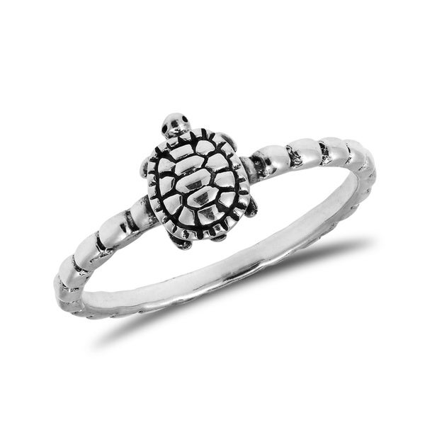 Handmade Whimsical Turtle 925 Sterling Silver Band Ring Thailand