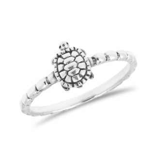 Handcrafted Whimsical Turtle .925 Sterling Silver Band Ring (Thailand)