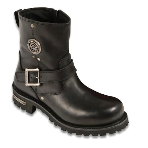 Mens Black Leather 6-inch Classic Engineer Boots