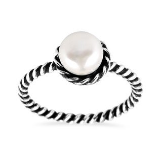 Handmade Sweet Freshwater White Pearl Band Twist .925 Sterling Silver Ring (Thailand)