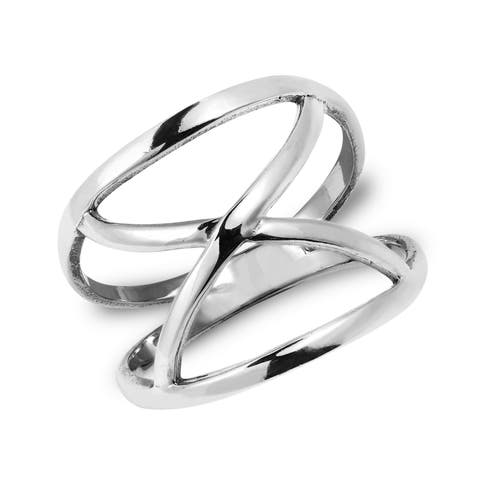 Handmade Modern Infinite Loop Open X Orbit Sterling Silver Band Ring (Thailand)