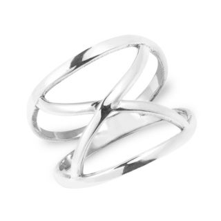 Modern Infinite Loop Open X Orbit Sterling Silver Band Ring (Thailand)
