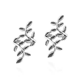 Handmade Leafy Nature Ivy Vine Crawler Sterling Silver Cuff Earrings (Thailand)