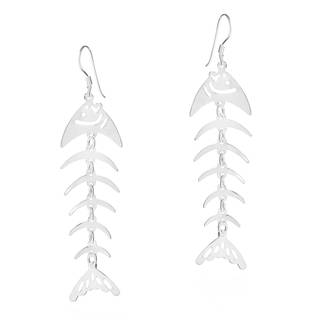 Handmade Fashion Fish Bone Sterling Silver .925 Dangle Hook Earrings (Thailand)