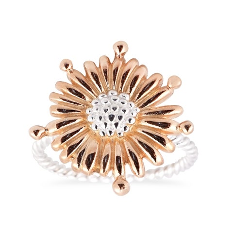 Handmade Daisy Bloom 2 Tone Rose Gold Vermeil 925 Silver Floral Ring (Thailand)