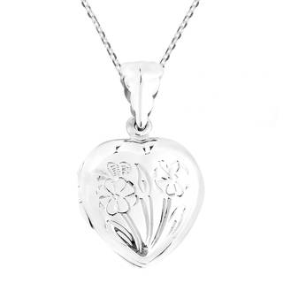 Heart of Floral Blossoms Locket .925 Silver Necklace (Thailand)