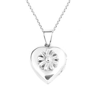 Handmade Daisy in Full Bloom Heart Pendant Sterling Silver Locket Necklace (Thailand)