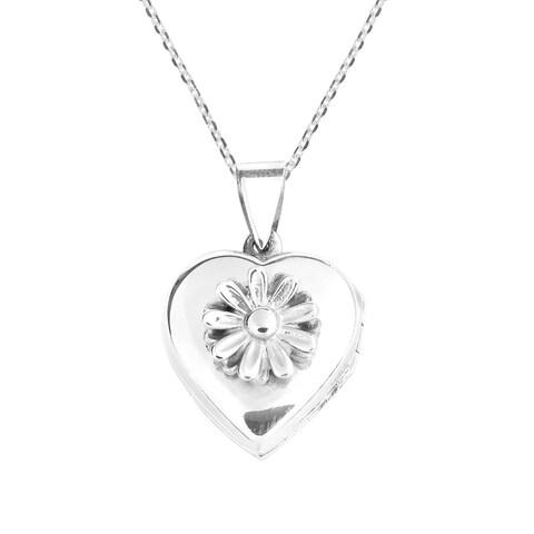 Handmade Daisy in Full Bloom Heart Locket .925 Silver Necklace (Thailand)