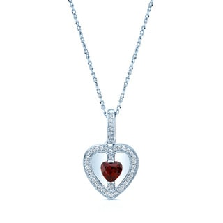 14k White Gold Garnet 1/6ct TDW Diamond Heart Shape Pendant
