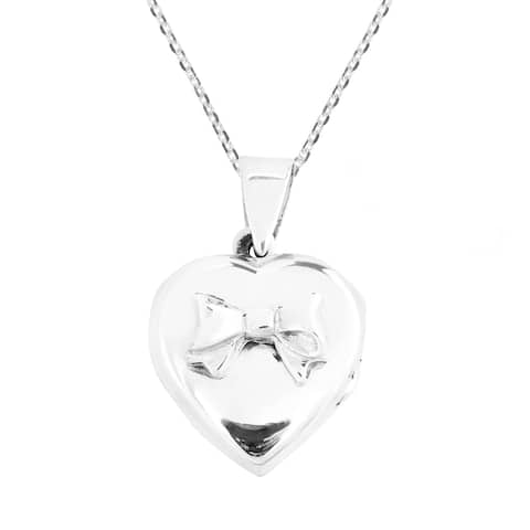 Handmade Adorable Bow on Heart Locket Pendant 925 Silver Necklace (Thailand)