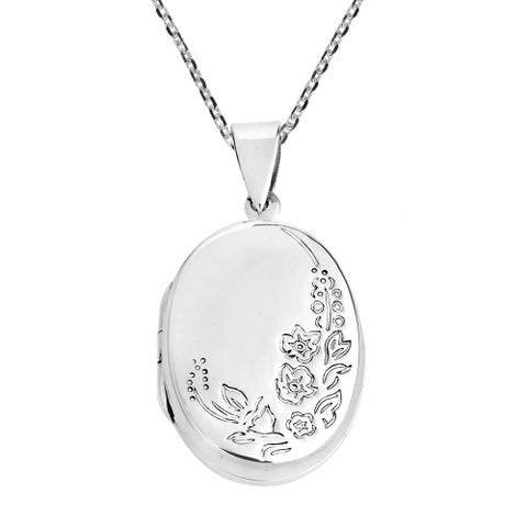 Handmade Engraved Tropical Flora Oval Locket .925 Silver Necklace (Thailand)