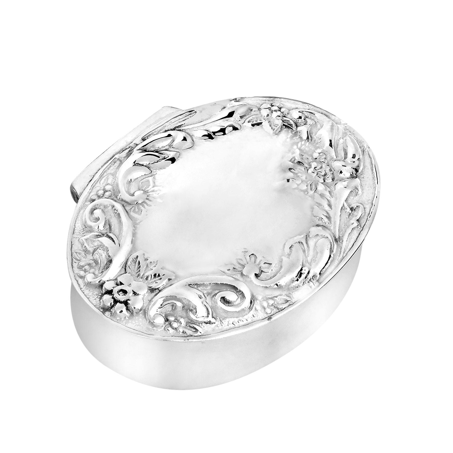 Aeravida Handmade Victorian Floral Oval Silver .925 Keepsake Pill Gift Box (Thailand) (Silver)