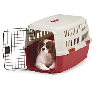 Guardian Gear Red and Tan Plastic 28-inch x 21-inch x 11-inch Contain Me Dog Crate