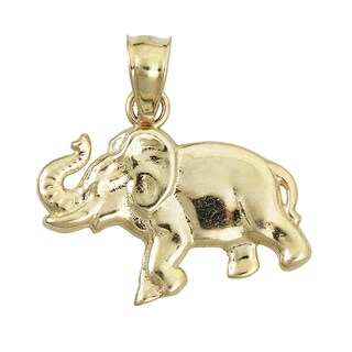 14k Yellow Gold Baby Elephant Dangling Pendant