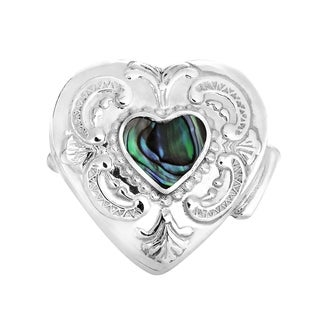 Mystical Heart Abalone Inlay 925 Silver Gift Keepsake Box (Thailand)