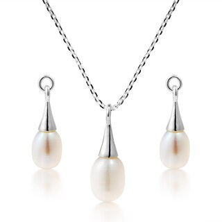Handmade Simplicity Pearl Drop Set Sterling Silver .925 Jewerly Set (Thailand)