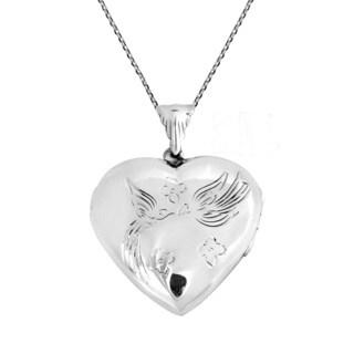Handmade Kissing Doves Heart Locket .925 Silver Necklace (Thailand)