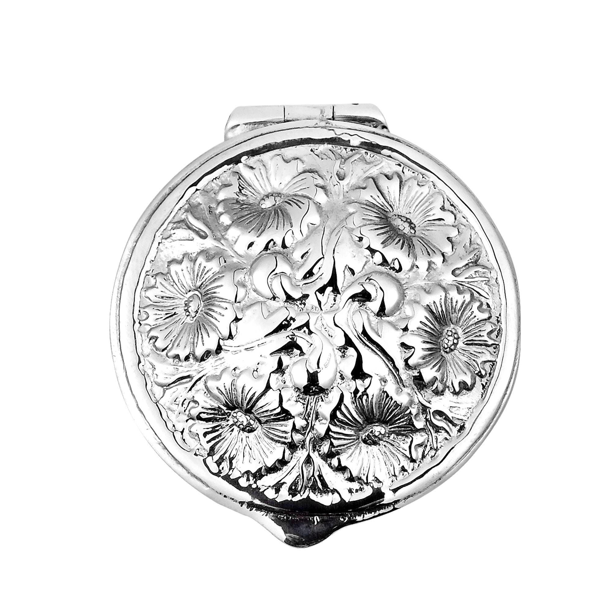 Aeravida Handmade Embossed Victorian Floral .925 Silver Gift Box Keepsake (Thailand) (Silver) (Metal)