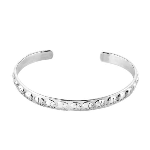 Handmade Elephant Parade of Fortune Sterling Silver Cuff Bracelet (Thailand)