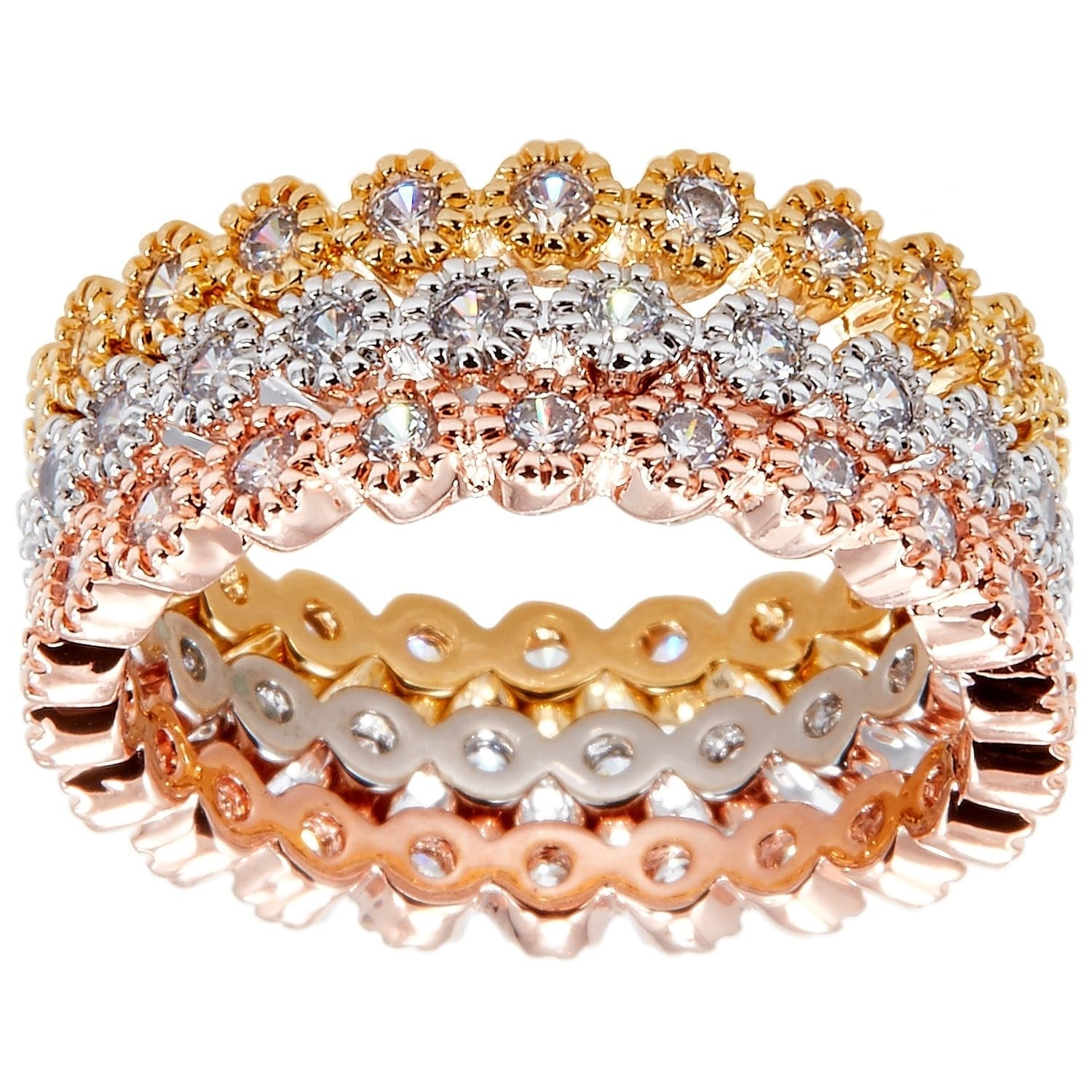 Simon Frank 14k Yellow Gold/ Rose Gold and Rhodium Ovlerl...