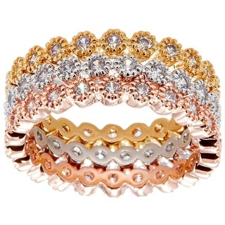 Simon Frank 14k Yellow Gold/ Rose Gold and Rhodium Ovlerlay 3-piece Stackable CZ Eternity Bands - Silver