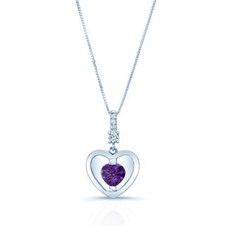 14k White Gold Amethyst 1/12-carat TDW Diamond Heart Pendant