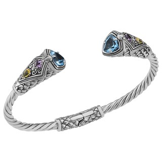 Blue Topaz Sterling Silver Multi-Gemstone Cawi Cuff Bracelet (Indonesia)
