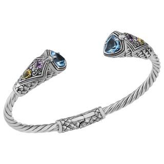 Handmade Blue Topaz Sterling Silver Multi-Gemstone Cawi Cuff Bracelet (Indonesia)