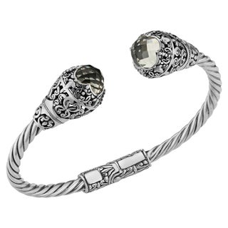 Prasiolite Sterling Silver Deep Jungle Cawi Cuff Bracelet (Indonesia)
