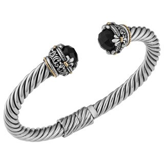 Black Onyx 18K Gold and Sterling Silver Fleur De Lis Cawi Cuff Bracelet (Indonesia)