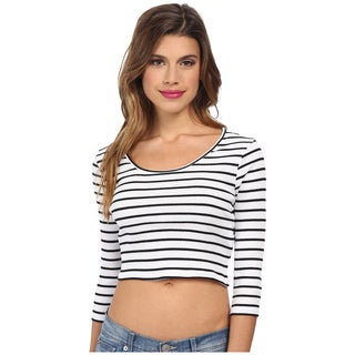 Minkpink Black and White Striped Cotton Ribbed Crop Top