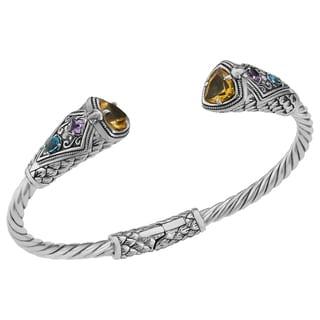 Citrine Sterling Silver Multi-Gemstone Cawi Cuff Bracelet (Indonesia)