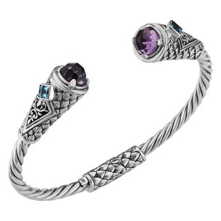 Amethyst Blue Topaz Sterling Silver Balinese Cawi Cuff Bracelet (Indonesia)