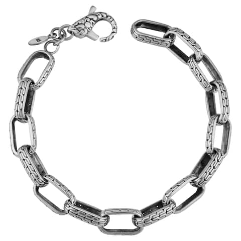 Handmade Sterling Silver Java Garden 7.5-inch Long Cawi Link Bracelet (Indonesia)