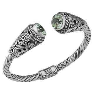 Prasiolite Sterling Silver Sky's Heart Cawi Cuff Bracelet (Indonesia)